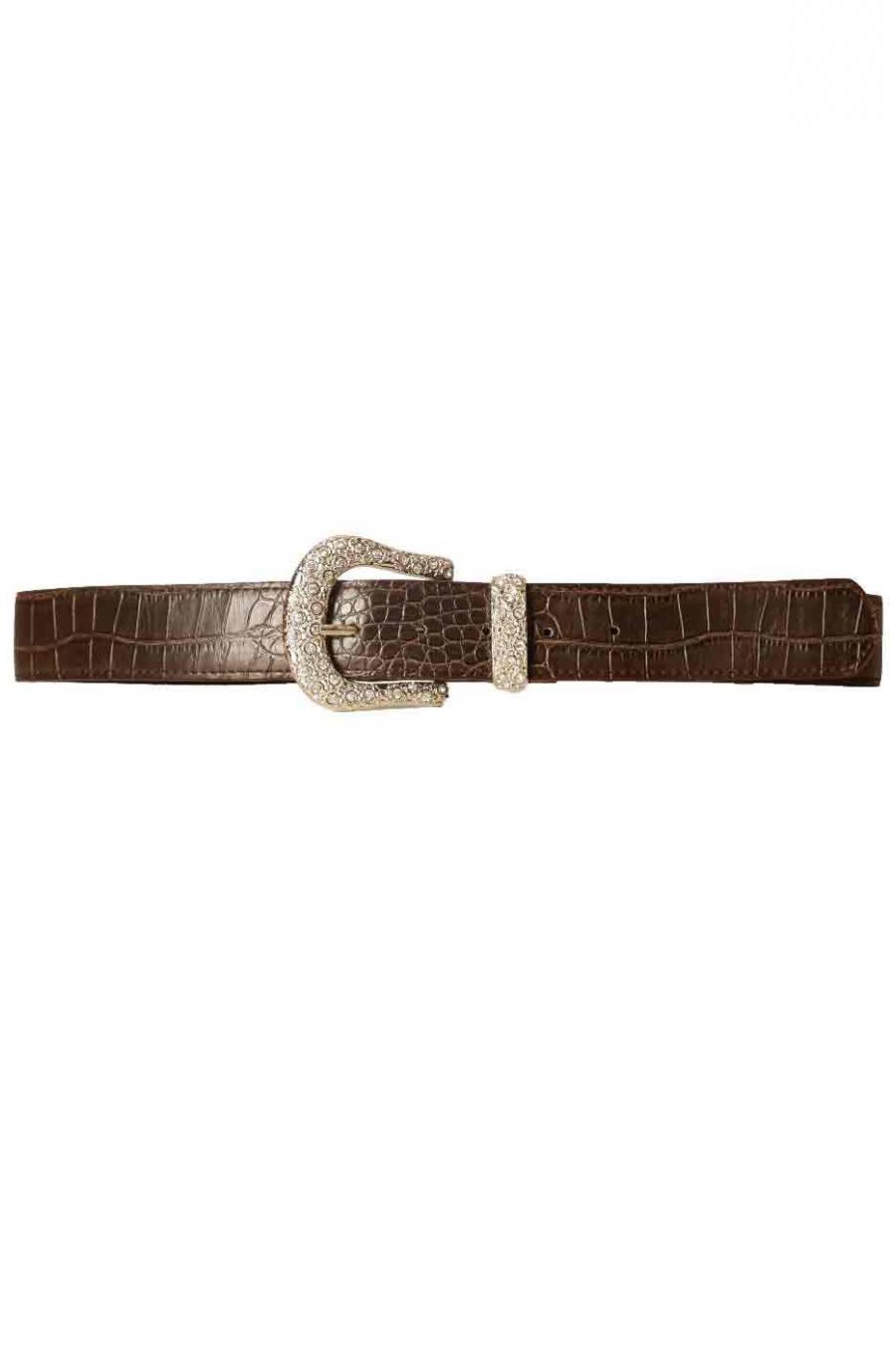 Brown crocodile-style belt with fancy rhinestone buckle D7288