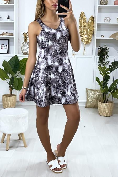 Black floral pattern flared dress