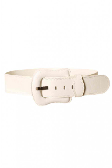 Big white belt with buckle of the same material. BG-po13
