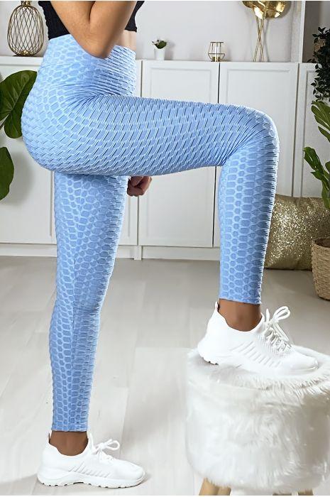 Zeer modieuze blauwe push up legging. De bestseller van dit moment