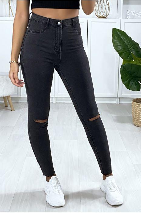 Smalle jeans van antracietgrijs met gescheurde knieën en achterzakken