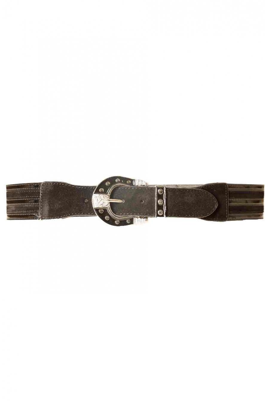Brede zwarte riem met zwarte siergesp BG-0088