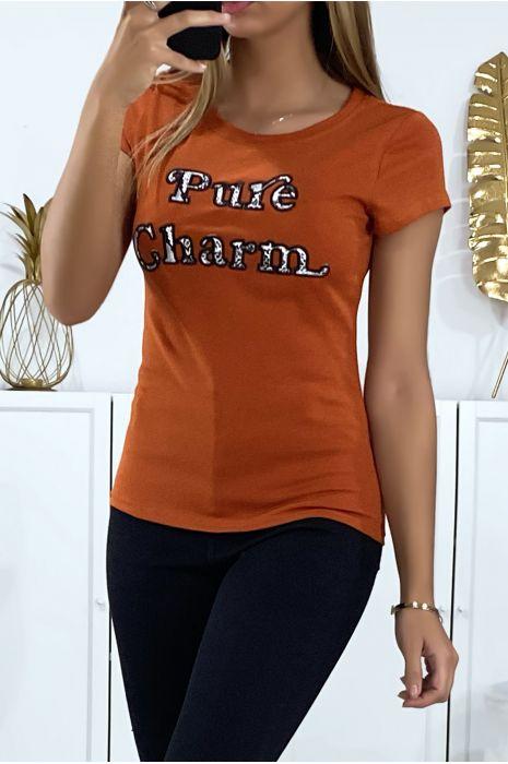 T-shirt cognac avec écriture brodé pure charme