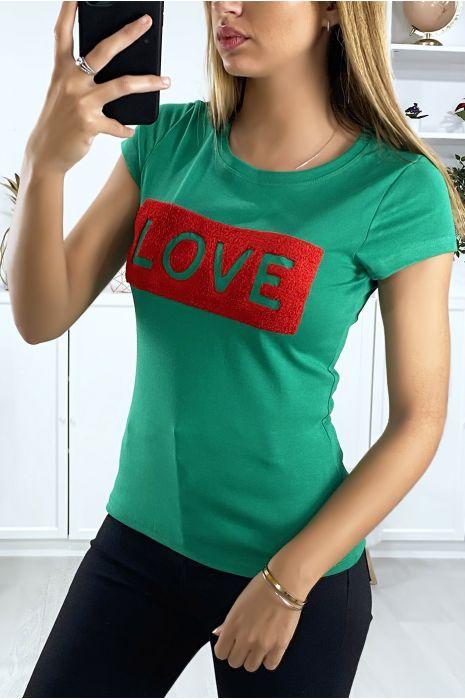 T-shirt vert avec écriture Love