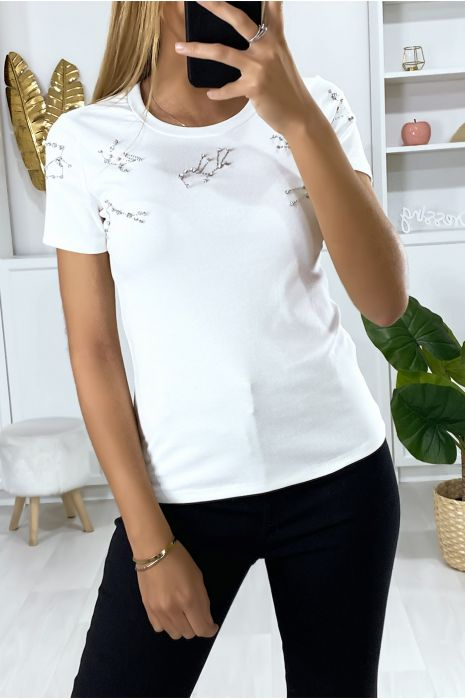 T-shirt blanc avec strass au buste