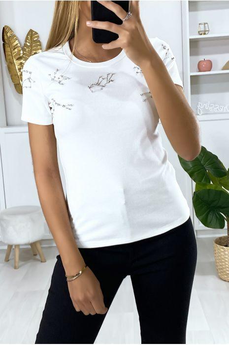 Wit t-shirt met strass steentjes op de buste