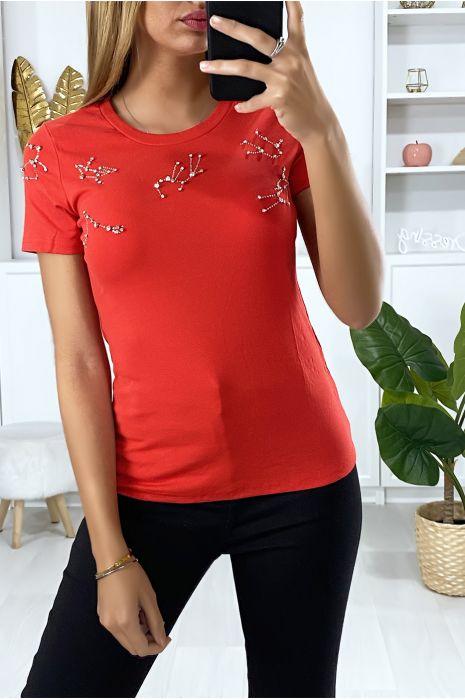 Rood t-shirt met strass steentjes op de buste