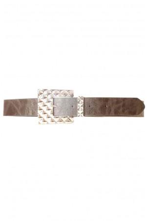 Zwarte lederlook riem met geometrische siergesp SG-0427