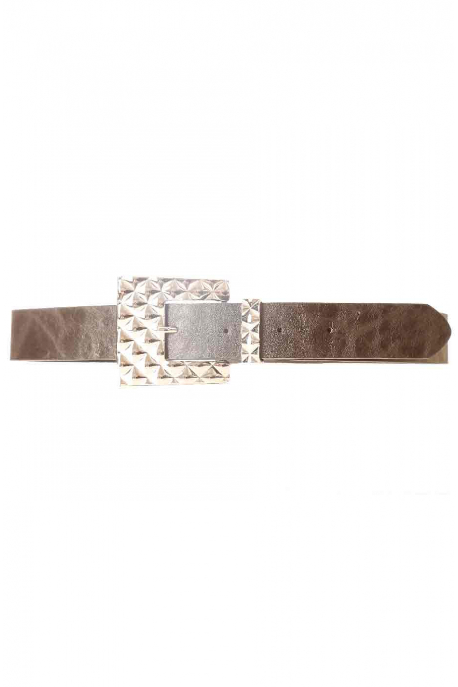 Black leather-look belt with geometric fancy buckle SG-0427