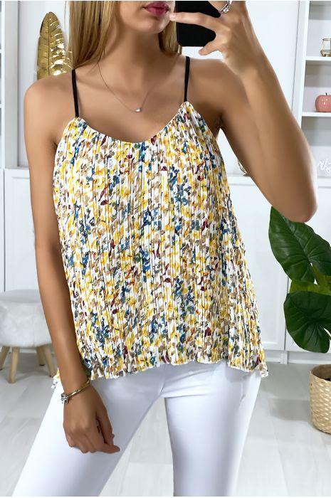 Débardeur jaune doublé et plissé avec motif