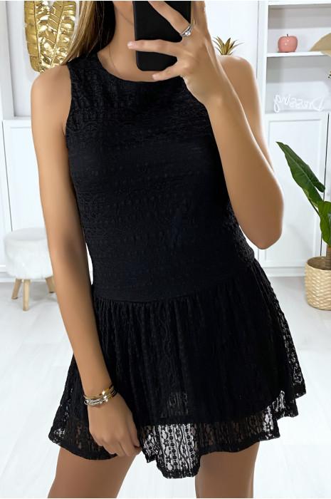 Robe tunique noire en dentelle style tennis girl