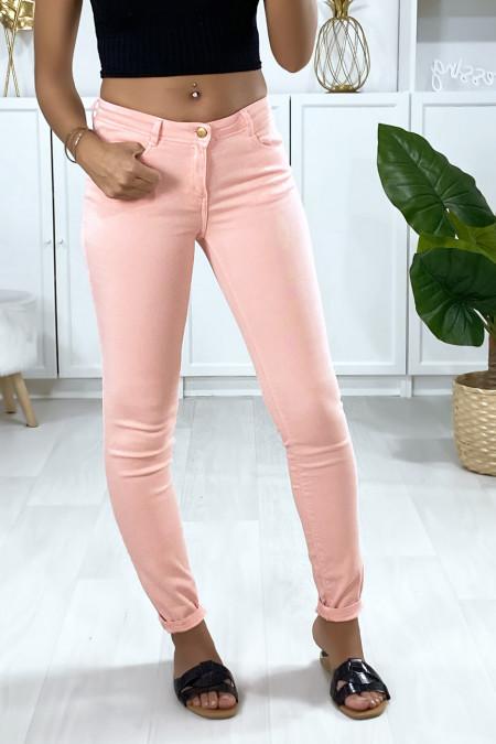 Pantalon jeans en rose avec cinq poches