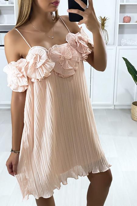 Robe tunique rose plissé et doublé à bretelle