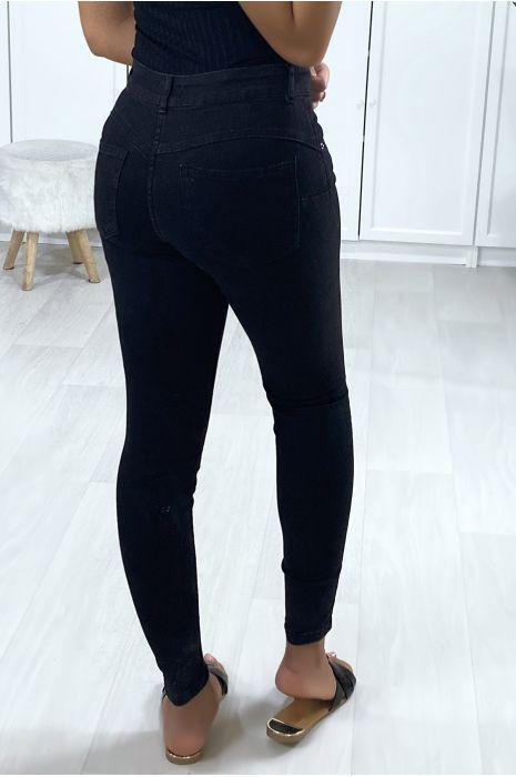 Jeans slim noir boutonné à l'avant avec poches
