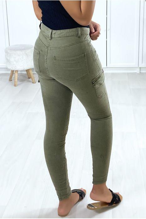 Pantalon treillis kaki clair avec poches sur les côtés
