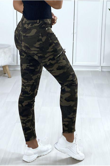 Militaire mesh broek met zijzakken