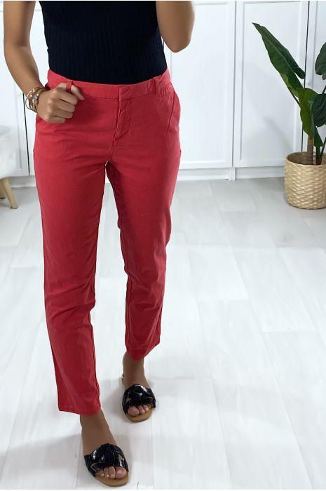 Pantalon cigarette fuchsia avec poches