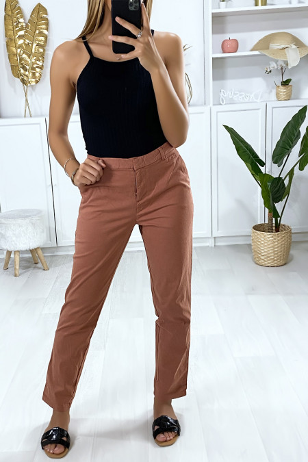 Salmon cigarette pants with pockets