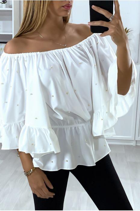Witte boothals blouse met parels en ruche mouwen
