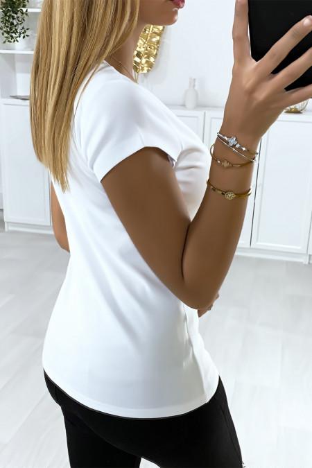 Women's white t-shirt with rhinestone head motif