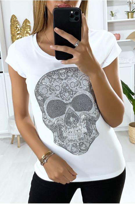 T-shirt blanc pour femme avec motif tête en strass
