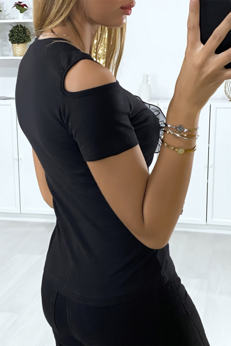 Black t-shirt off the shoulders with lace and sequins shape