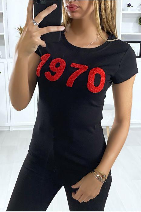 T-shirt noir avec écriture 1970