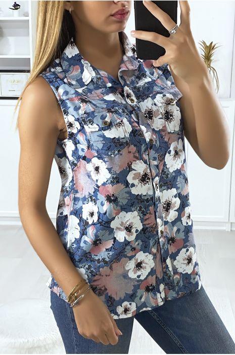 Chemise marine sans manches fleuris. Mode femme pas cher