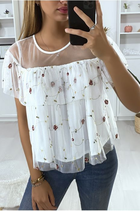 Witte blouse met ruche en borduursels