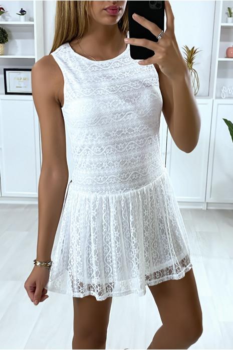 Robe tunique blanc en dentelle style tennis girl