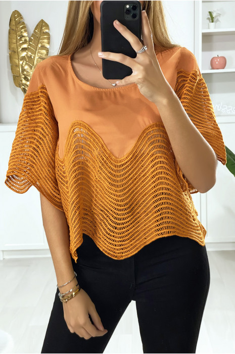 Oranje crop top met borduursel