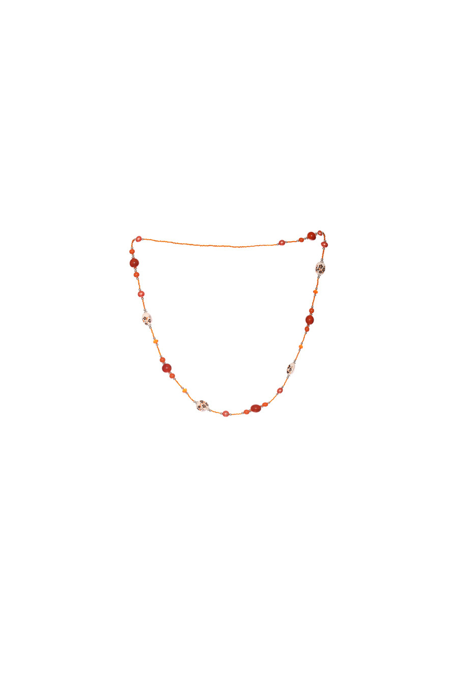 Collier brique pour femme avec perles et motifs en fleurs. Accessoires fashion