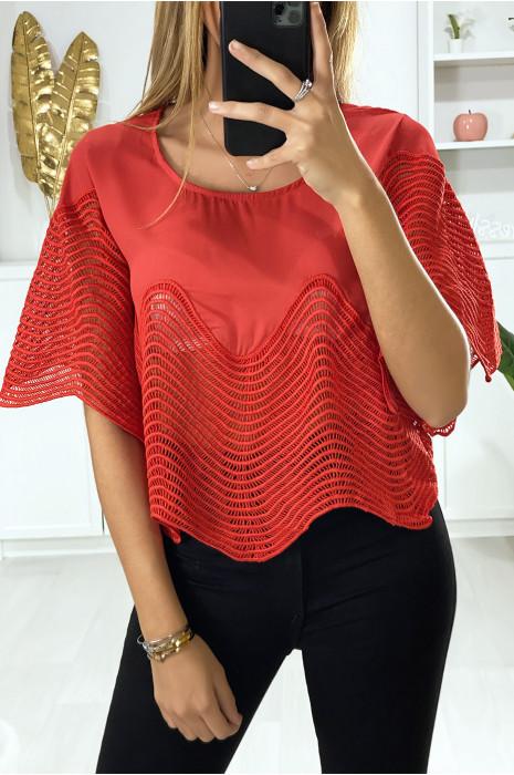 Cropped rode top met borduursel