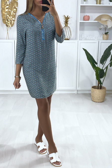 Green check tunic dress with collar closure