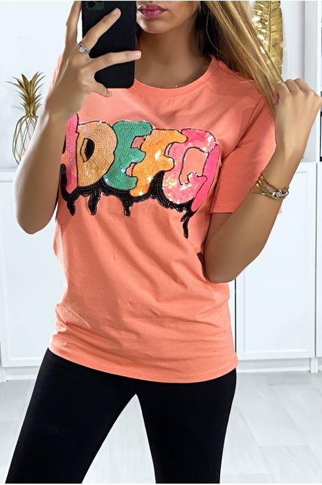 T-shirt rose avec écriture pailleté. Mode femme pas cher