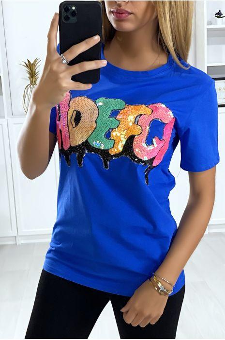 T-shirt royal avec écriture pailleté. Mode femme pas cher