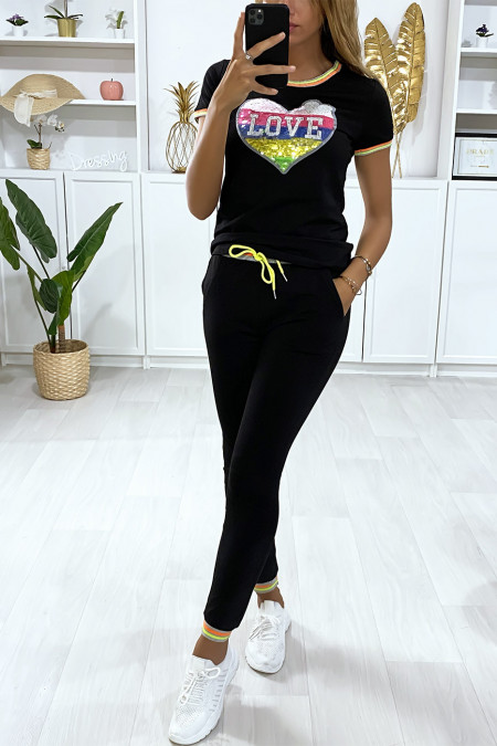 Black jogging set with love writing in sequins on the bust
