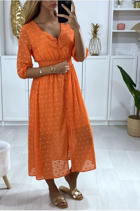 Longue robe corail boutonné avec motif et élastique à la taille