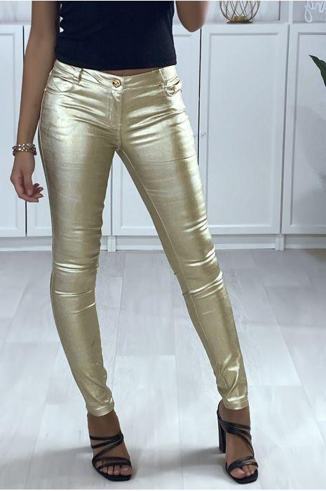 Goudkleurige skinny broek met zakken