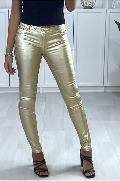 Pantalon slim doré avec poches