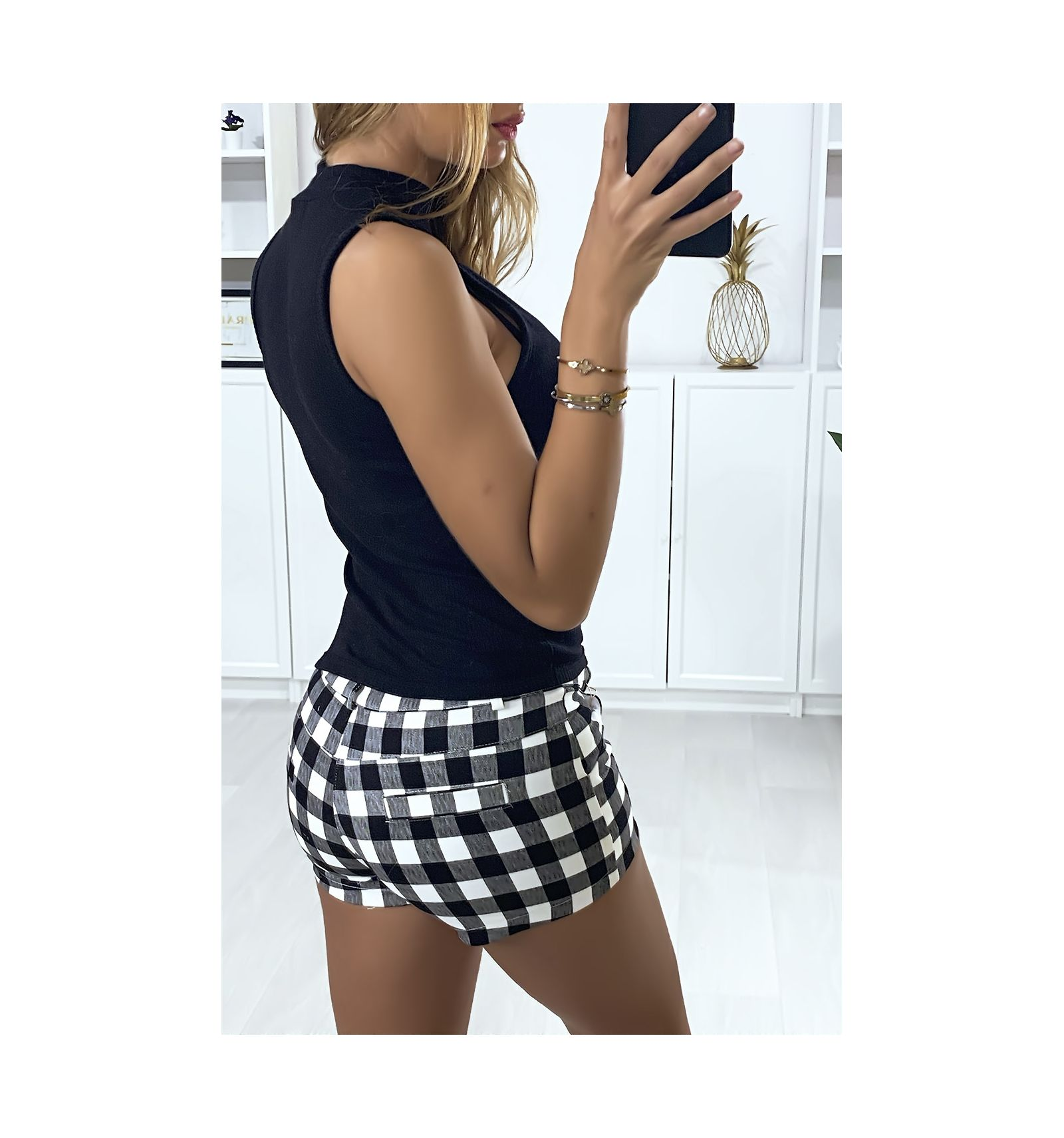 Black and white check shorts with pockets