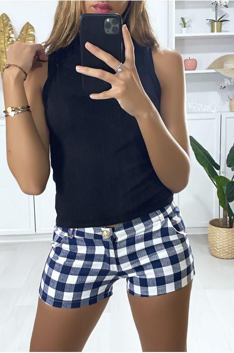 Short à carreaux bleu et blanc avec poches