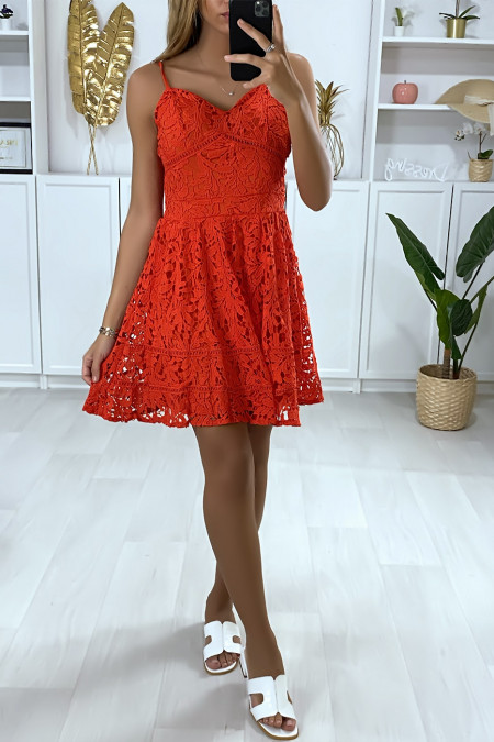 Flared red lace dress with straps