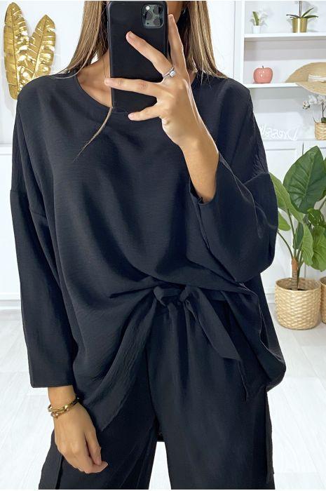 Ensemble tunique et pantalon large en noir
