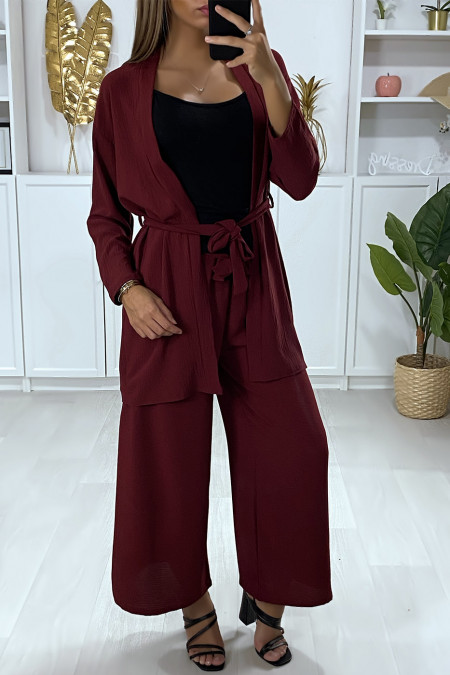 Burgundy palazzo vest and pants set