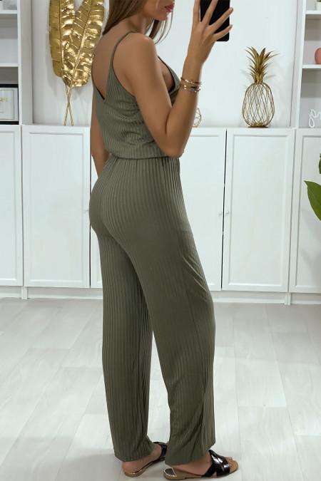 Kaki jumpsuit met strappy top en riem