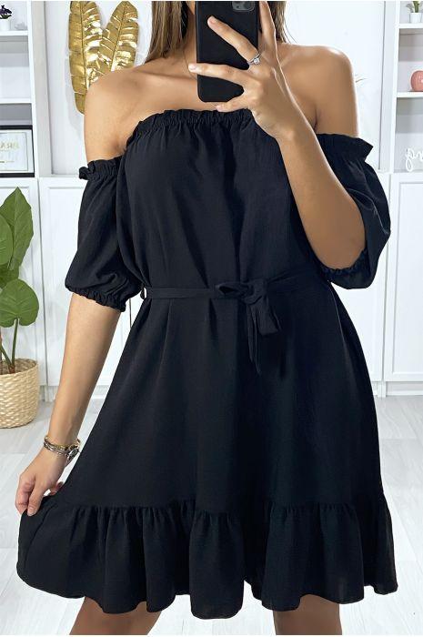 Zwarte strapless jurk met ruche en riem
