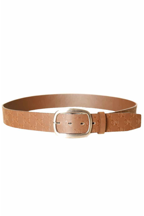Brown belt with prints, rectangle buckle LDF-0067