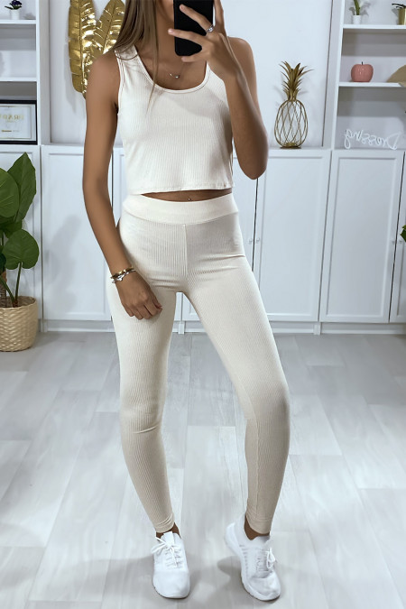Ribbed leggings in beige