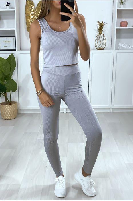 Geribbelde legging in grijs
